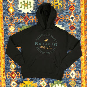 Unisex 2 color round logo on black hoodie