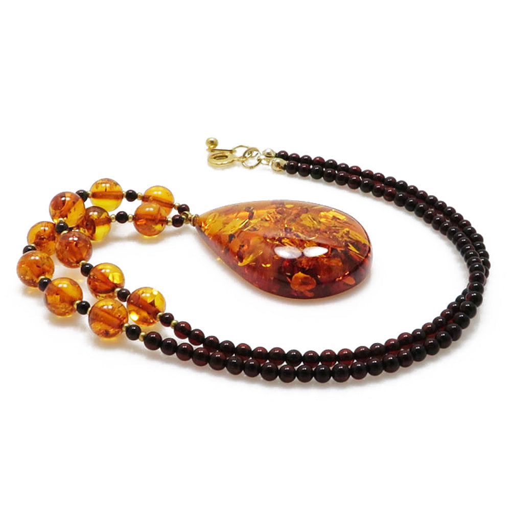 Cognac Amber Drop Pendant Beaded Necklace - Amber Alex Jewelry
