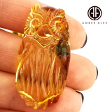 Fossil Amber Handmade Carved Owl Cabochons