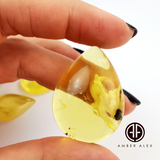 Lemon Cloudy Amber Handmade Drop Shape Cabochons