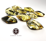 """Earth Stone"" Green Amber Handmade Marquise Shape Cabochons"