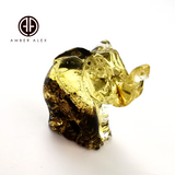 Fossil Amber Carved Elephant Figurine