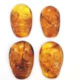 Cognac Amber Carved Skull Free Shape Cabachons