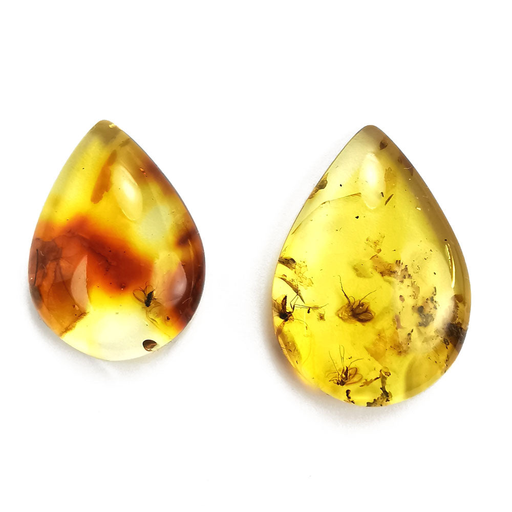 Natural Amber Handmade Drop Cabochons With Insects