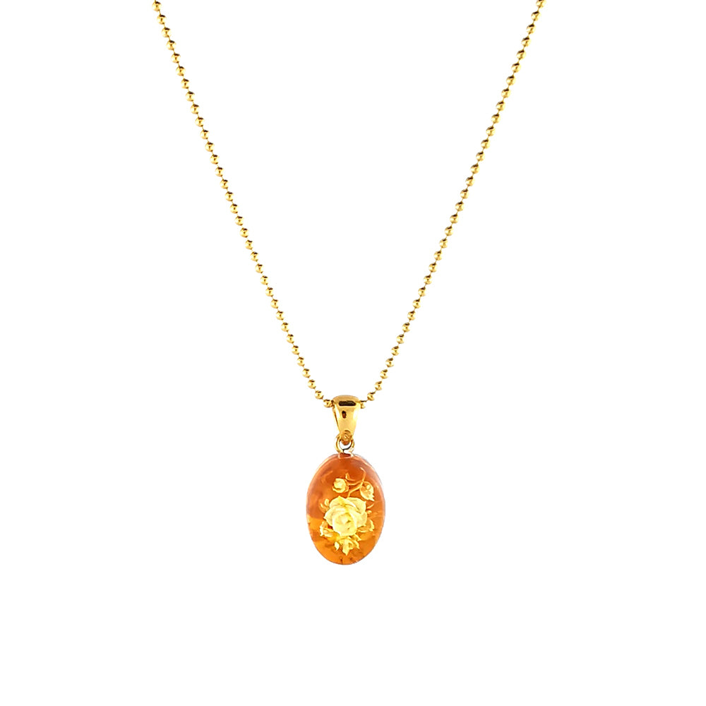 Engraved Cognac Amber Oval Chain Necklace 14K Gold Plated