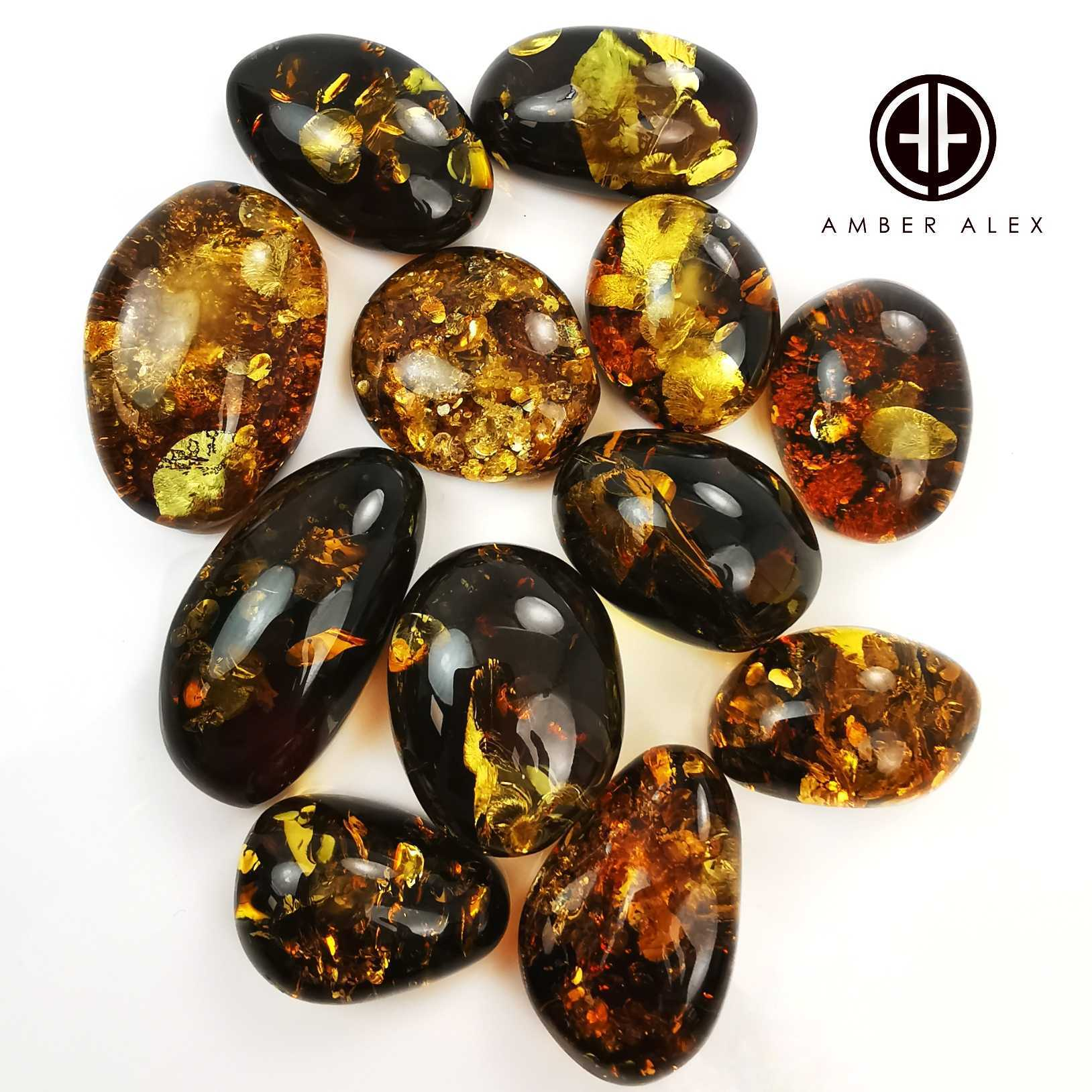 """Earth Stone"" Green Amber Free Shape Cabochons"
