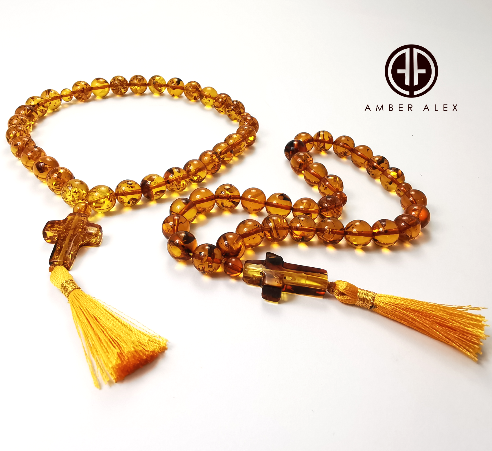 Cognac Amber Round Beads Orthodox Christian Rosary With Cross Pendant