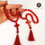 Red Amber Round Beads Orthodox Christian Rosary With Cross Pendant