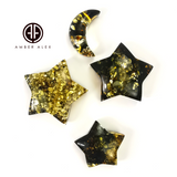 """Earth Stone"" Green Amber Handmade Star And Moon Shape Cabochons"