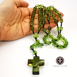 Green Amber Olive Beads Catholic Rosary With Cross Pendant
