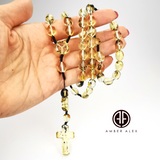 Fossil Amber Olive Beads Catholic Rosary With Cross Pendant
