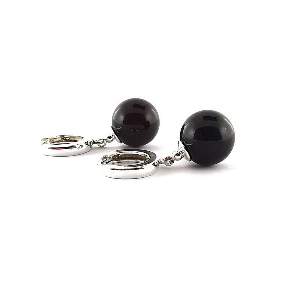 Cherry Amber Round Dangle Earrings Sterling Silver
