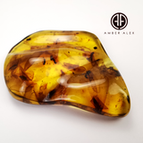 Natural Amber Wave Shape Stone With Insects