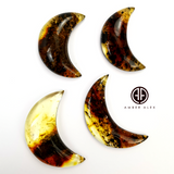 Fossil Amber Handmade Moon Cabochons