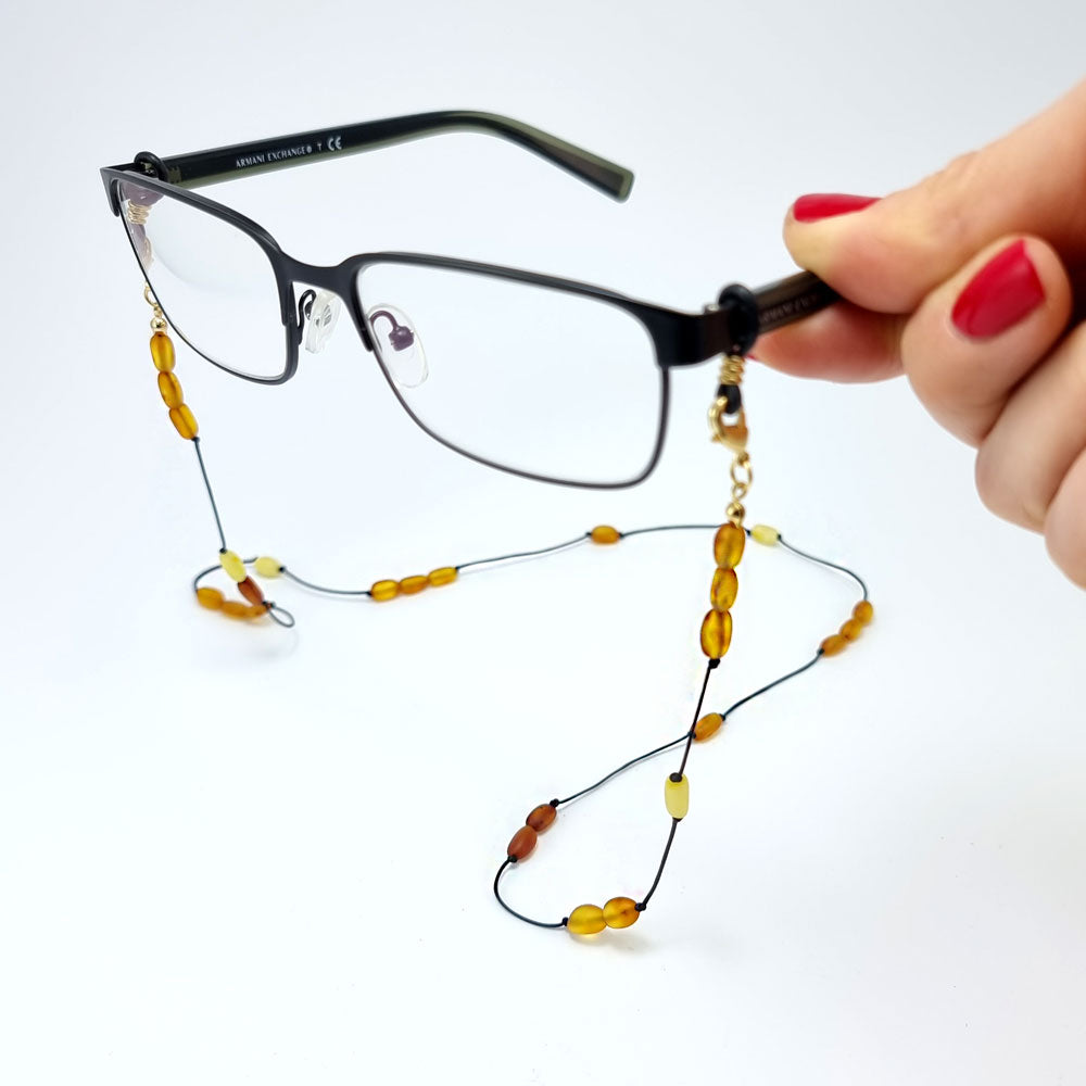 Multi-Color Amber Small Nugget Beaded Eyeglasses String