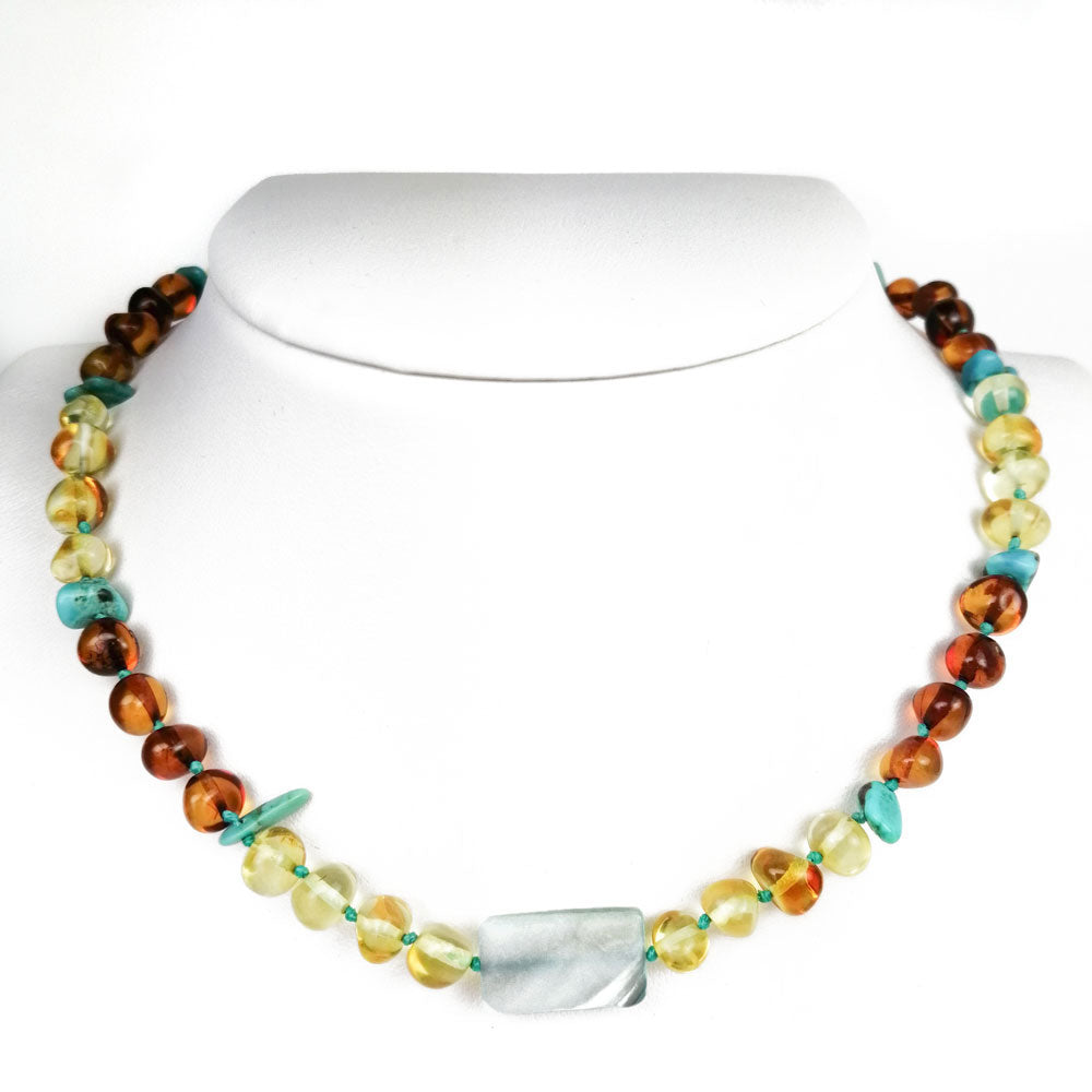 """KIDDO"" Lemon & Cognac Amber Baroque Beads Baby Necklace - Amber Alex Jewelry"