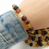 Multi-Color Amber Baroque Beads Stretch Bracelet - Amber Alex Jewelry
