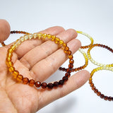 Rainbow Amber Round Faceted Beads Stretch Bracelet