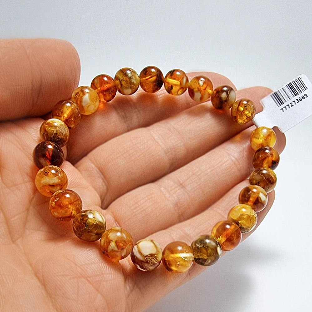 Brown Marble Amber Round Beads Stretch Bracelet