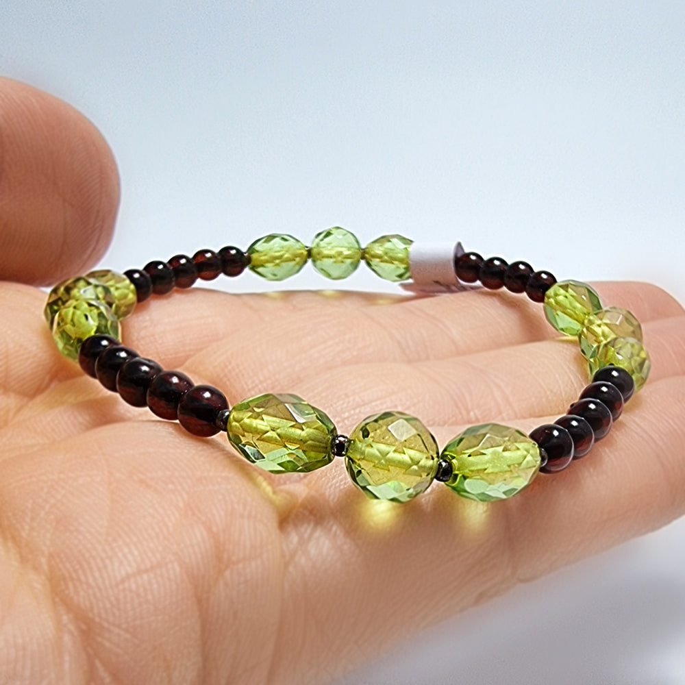 Cherry & Green Amber Faceted Beads Stretch Bracelet