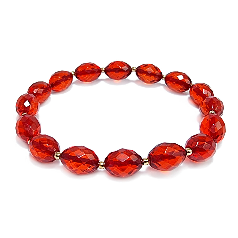 Red Amber Olive Faceted Beads Stretch Bracelet