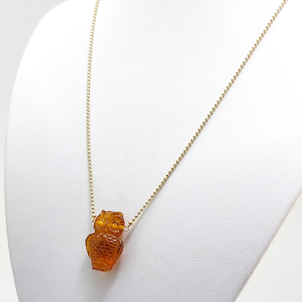 Cognac Amber Owl Pendant Necklace 14K Gold Plated