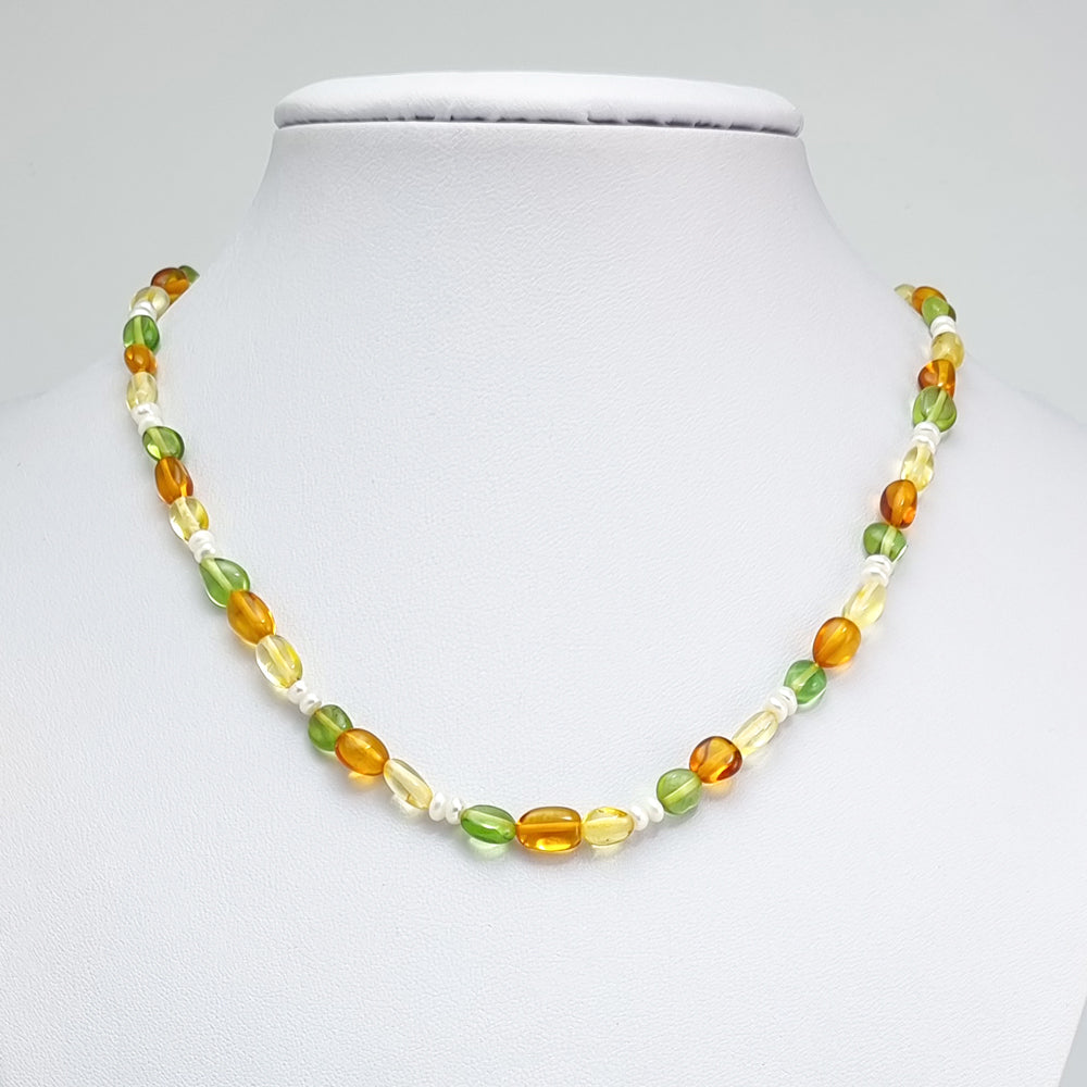 Multi-Color Amber Nuggets Necklace Sterling Silver