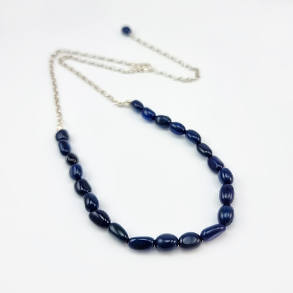 Blue Amber Nuggets Necklace Sterling Silver