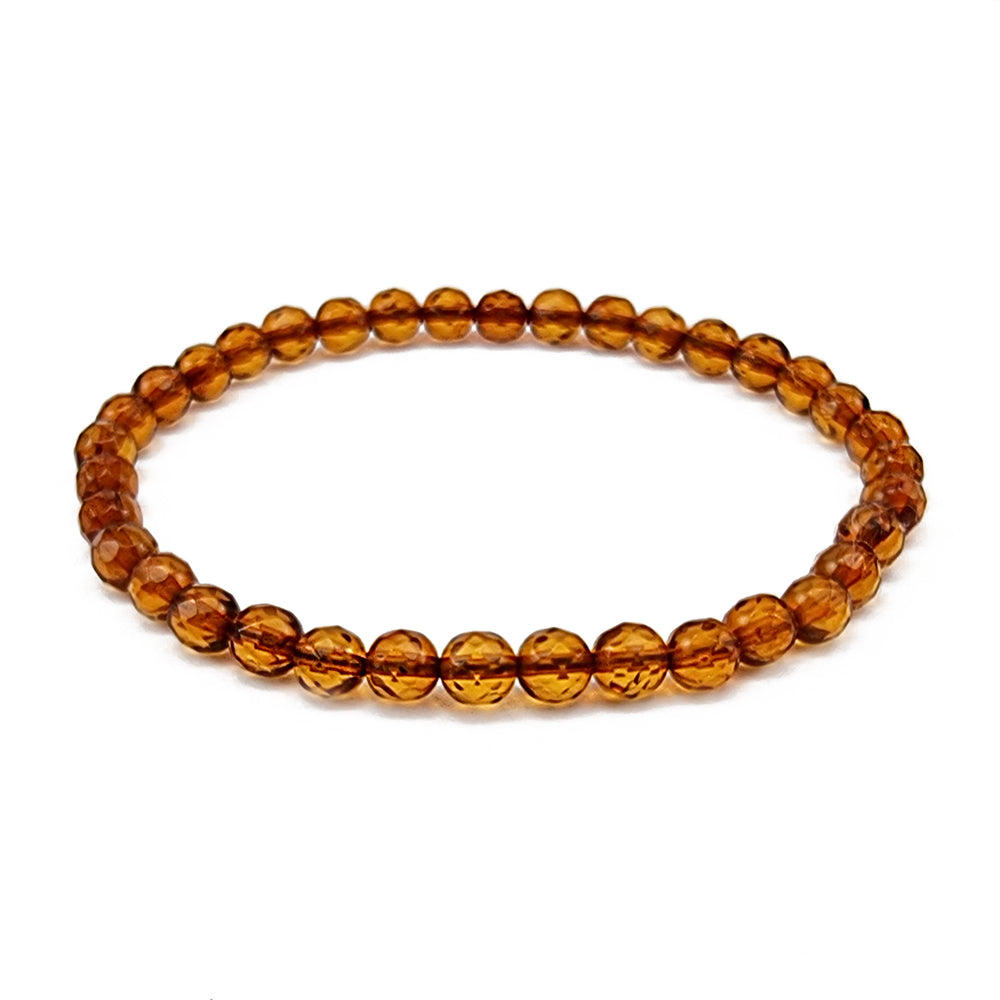 Cognac Amber Round Faceted Beads Stretch Bracelet