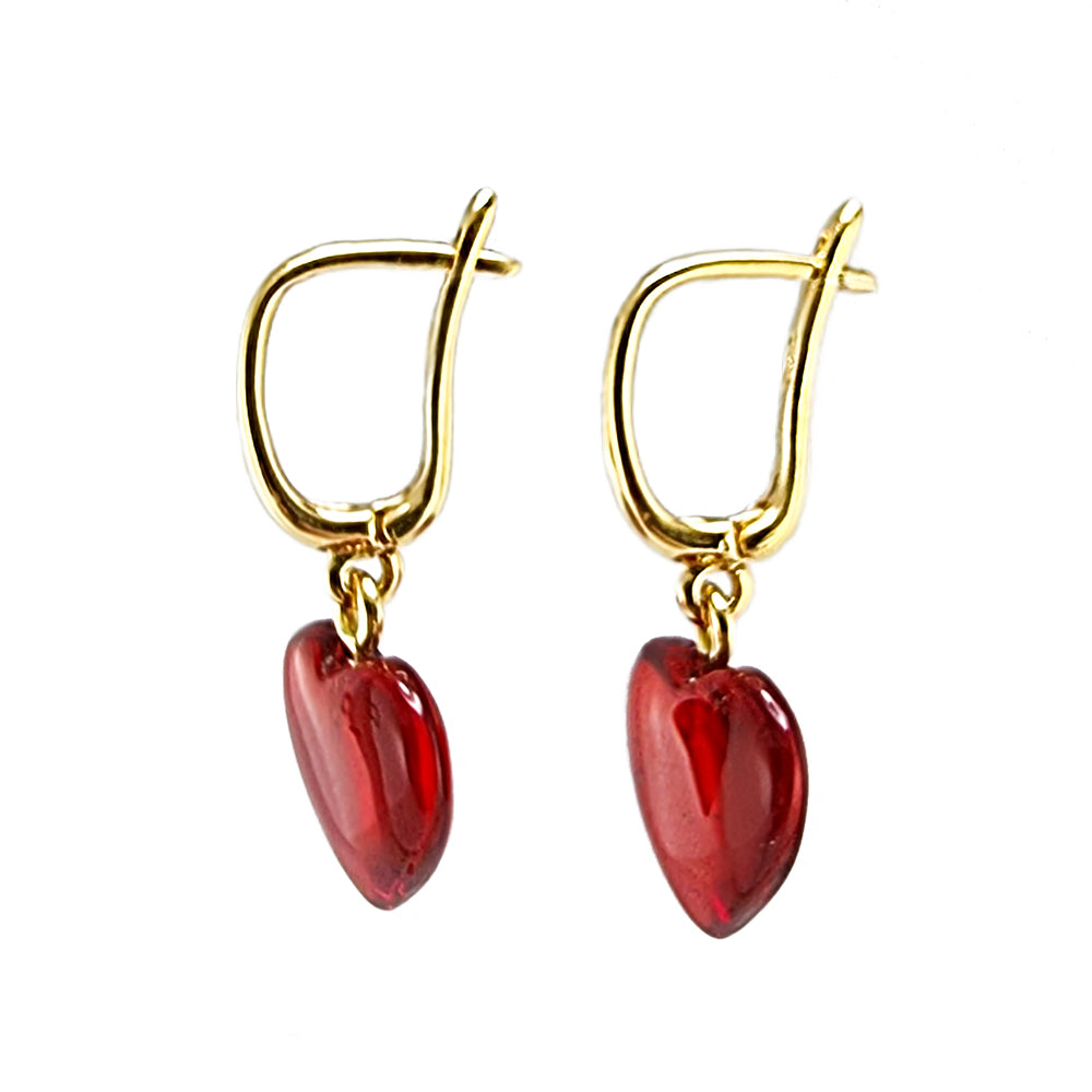 Red Amber Heart Dangle Earrings 14K Gold Plated