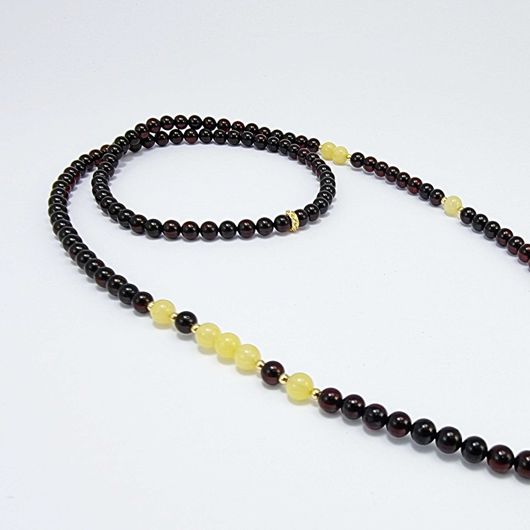 Milky And Cherry Amber Round Beaded Eyeglasses Chain