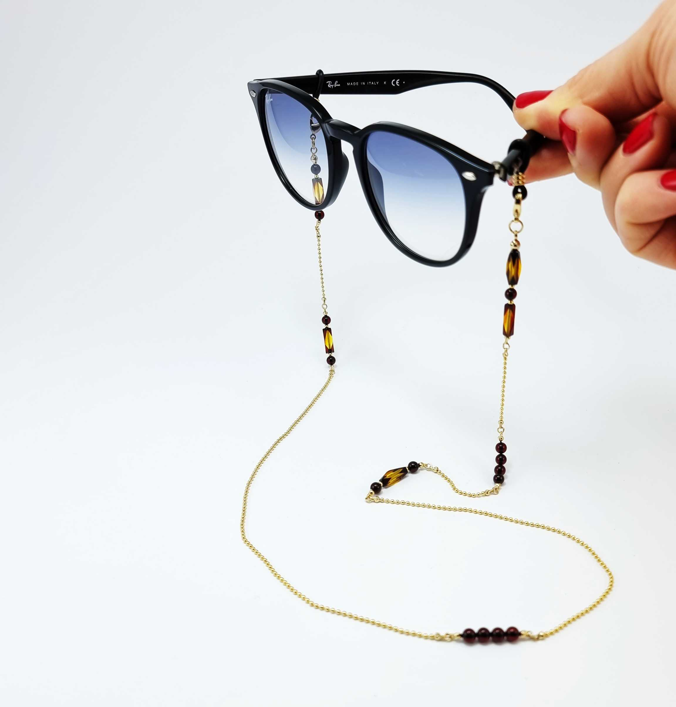 Multi-Color Amber Round Beaded Eyeglasses Chain 14k Gold Plated