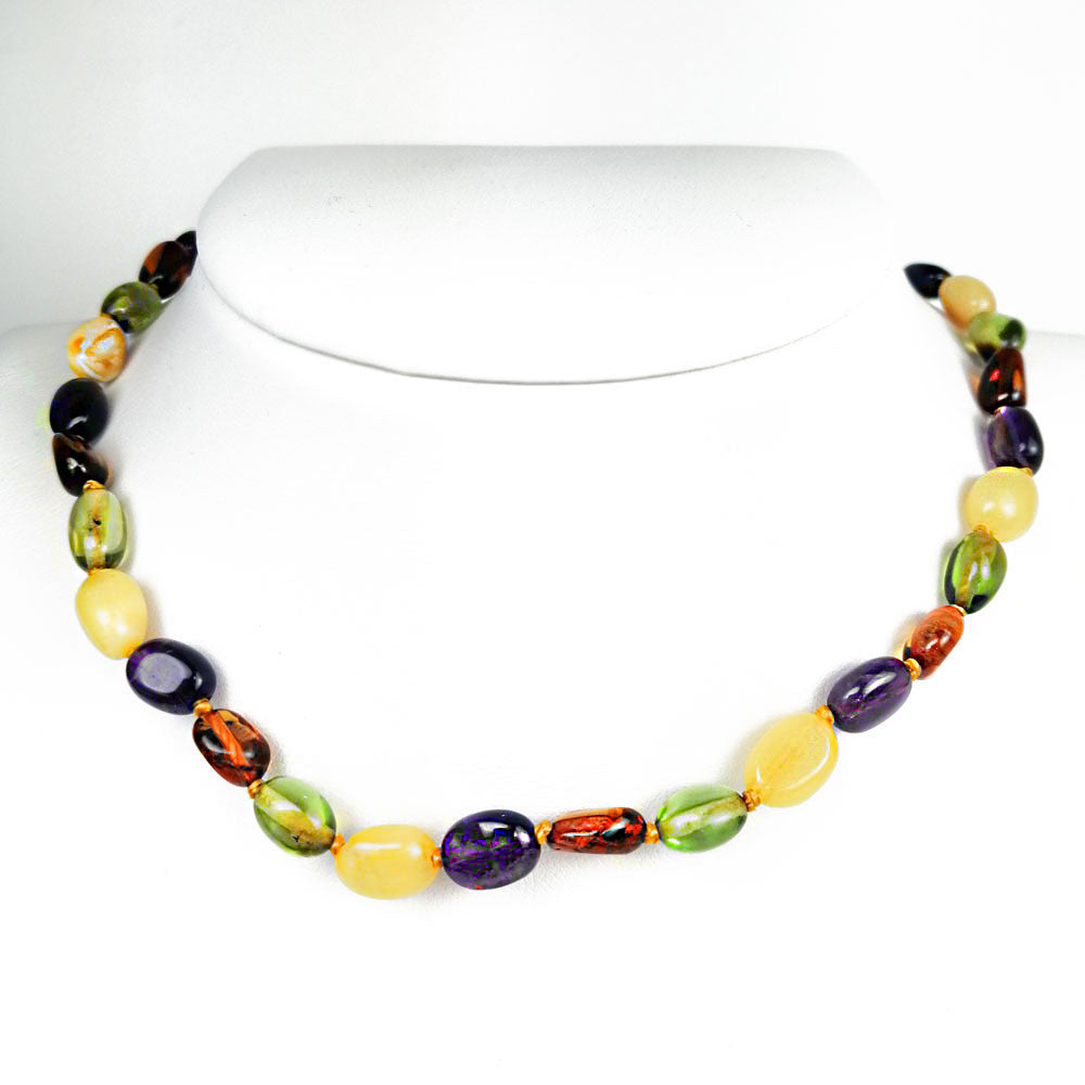 """KIDDO"" Multi-Color Amber Small Nuggets Baby Neckalce - Amber Alex Jewelry"