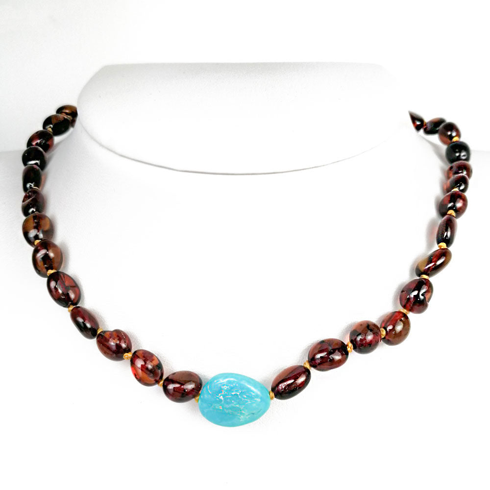 """KIDDO"" Dark Cognac Amber Small Nugget Baby Necklace - Amber Alex Jewelry"