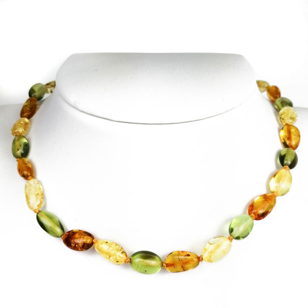 """KIDDO"" Multi-Color Amber Small Nugget Baby Necklace - Amber Alex Jewelry"