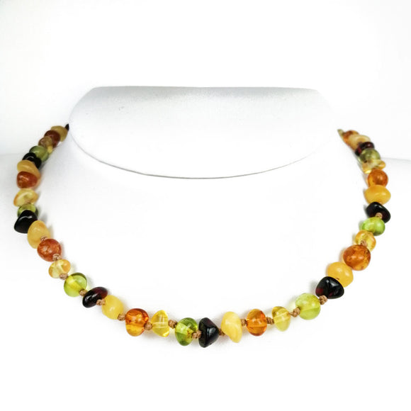 Baltic Amber Multicolor Baroque Beads Baby Necklace - Amber Alex Jewelry