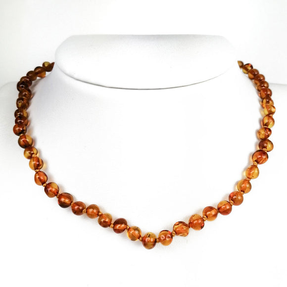 Baltic Amber  Cognac Baroque Beads Baby Necklace - Amber Alex Jewelry