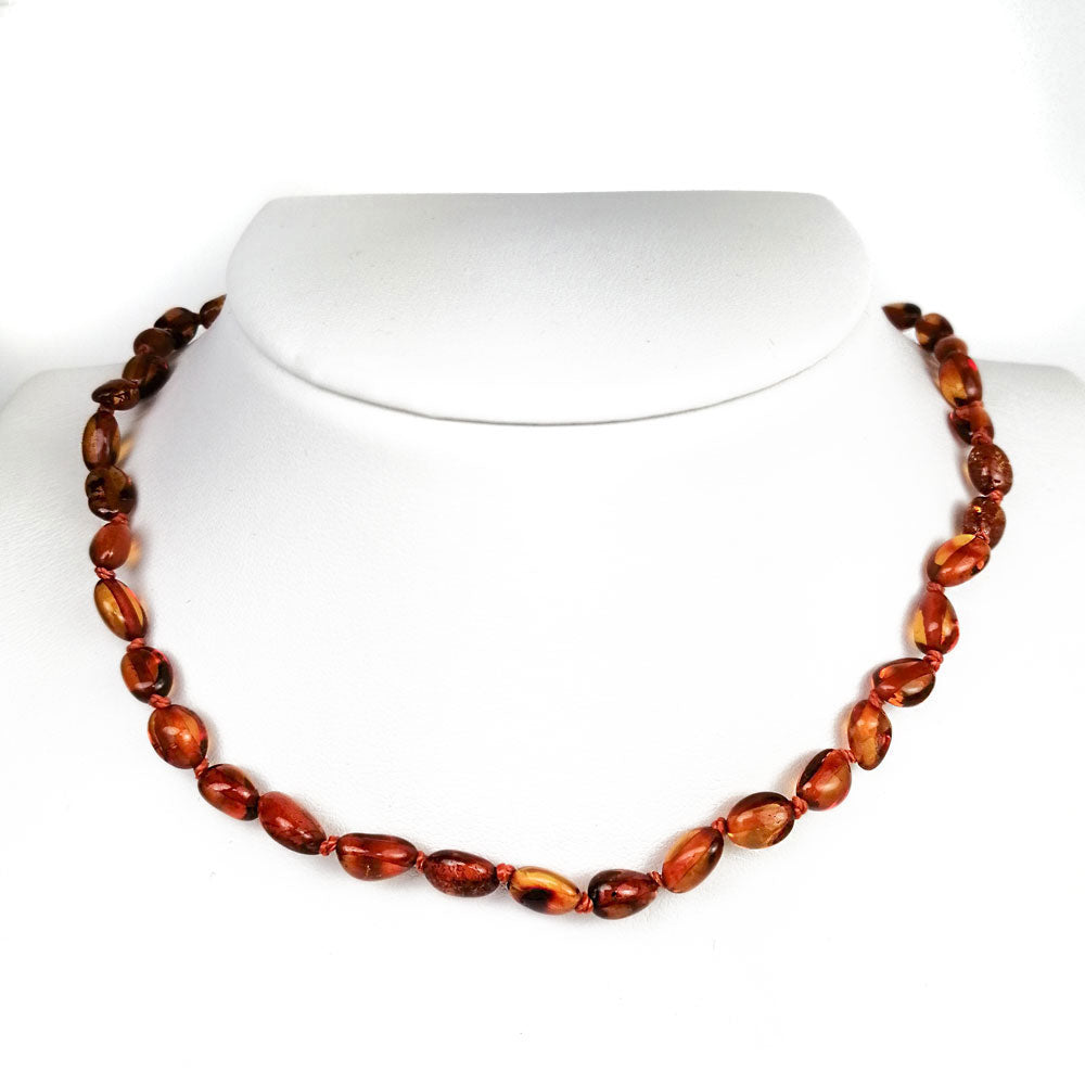 """KIDDO"" Cognac Amber Small Nuggets Baby Necklace - Amber Alex Jewelry"