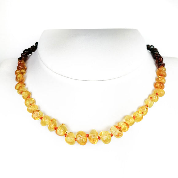 Baltic Amber Baroque Beads Rainbow Color Baby Necklace - Amber Alex Jewelry