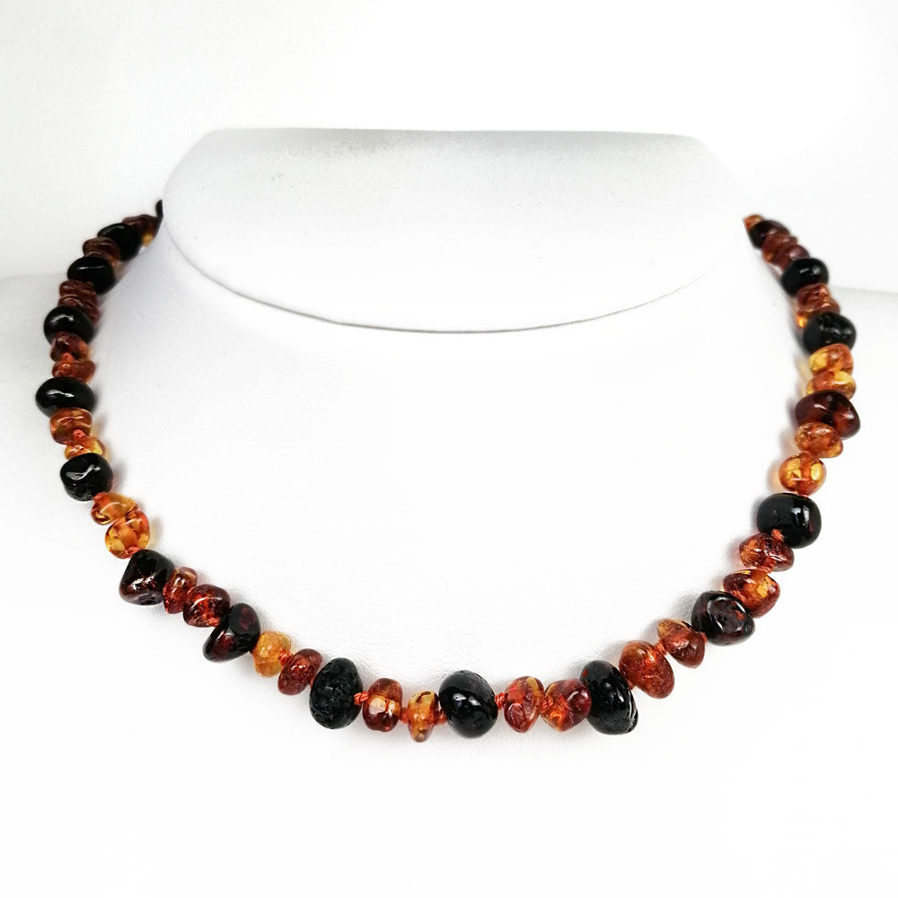 """KIDDO"" Cognac & Cherry Amber Baroque Beads Baby Necklace - Amber Alex Jewelry"