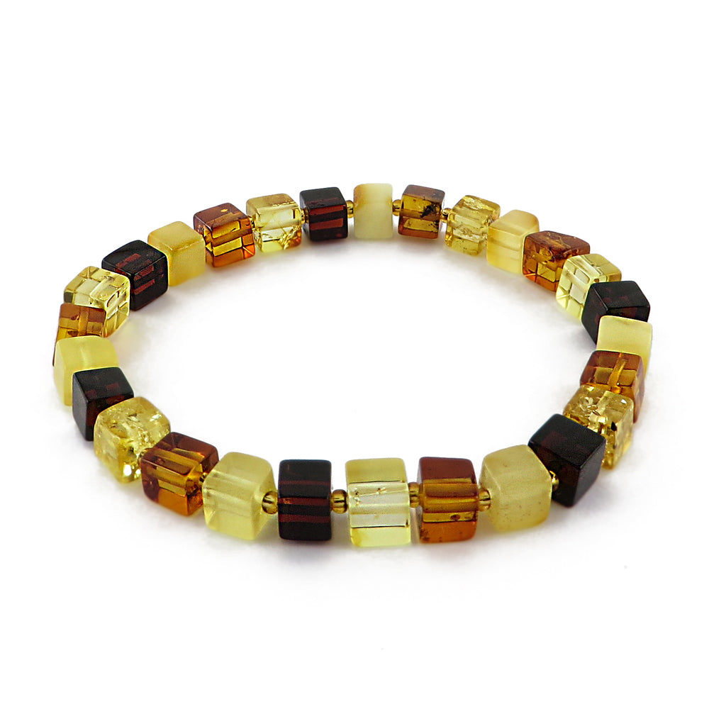 Multi-Color Amber Cube Beads Stretch Bracelet - Amber Alex Jewelry