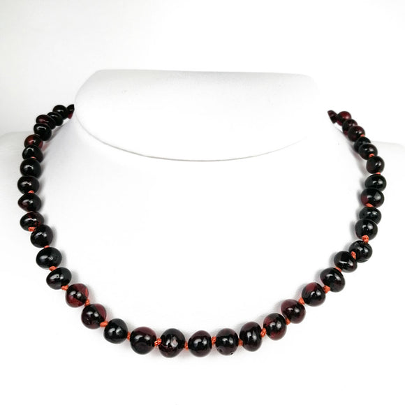 Baltic Amber Cherry Baroque Beads Baby Necklace - Amber Alex Jewelry