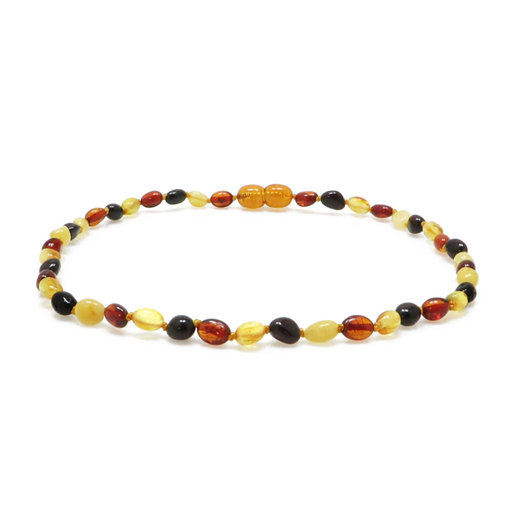 """KIDDO"" Multi-Color Amber Small Nuggets Baby Necklace - Amber Alex Jewelry"