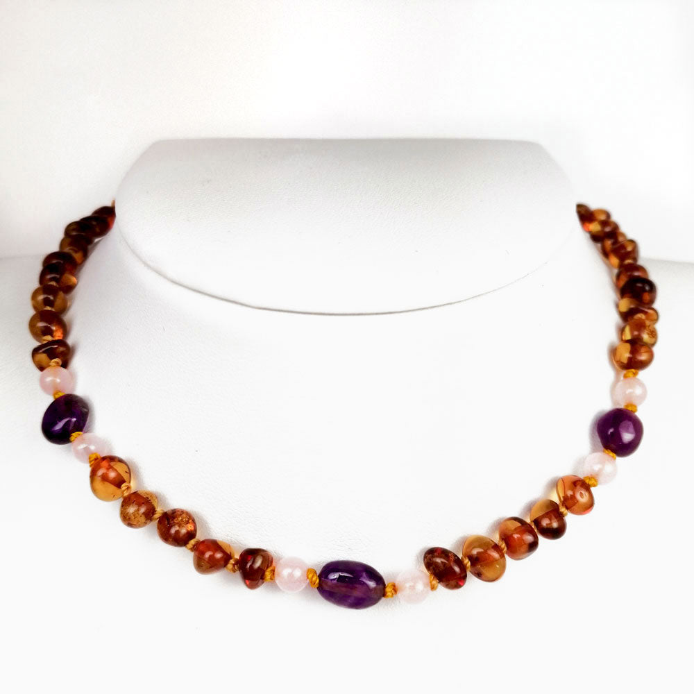 """KIDDO"" Cognac Amber Baroque Beads Baby Necklace - Amber Alex Jewelry"