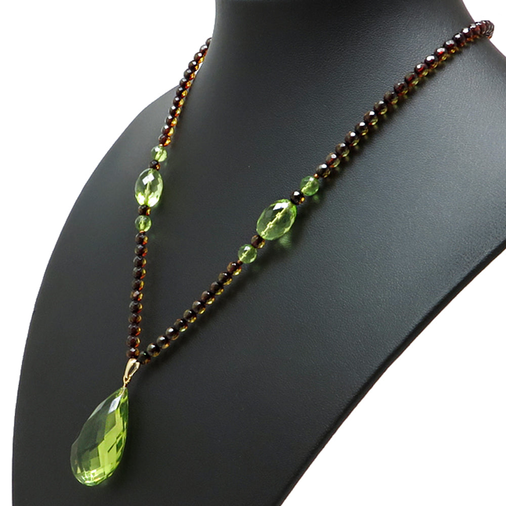 Green Amber Faceted Drop Pendant Beaded Necklace - Amber Alex Jewelry