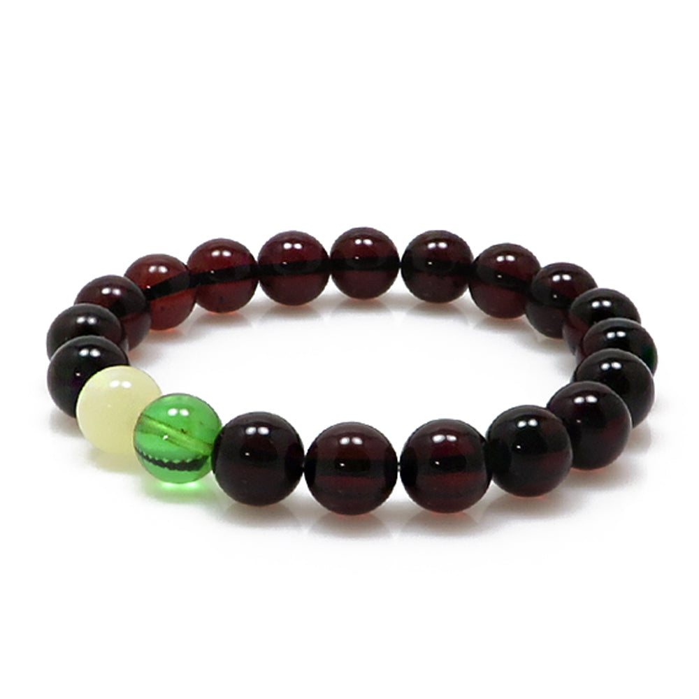 Multi-Color Amber Round Beads Stretch Bracelet - Amber Alex Jewelry