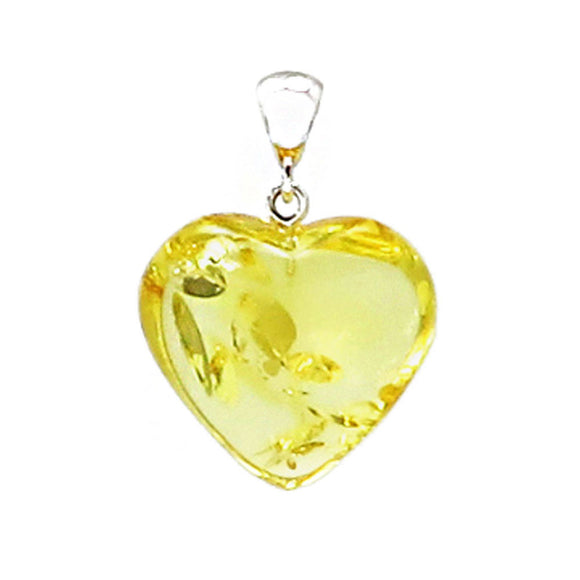 Lemon Amber Heart Pendant Sterling Silver