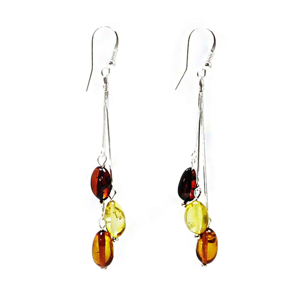 Multi-Color Amber Small Nugget Dangle Earrings Sterling Silver - Amber Alex Jewelry