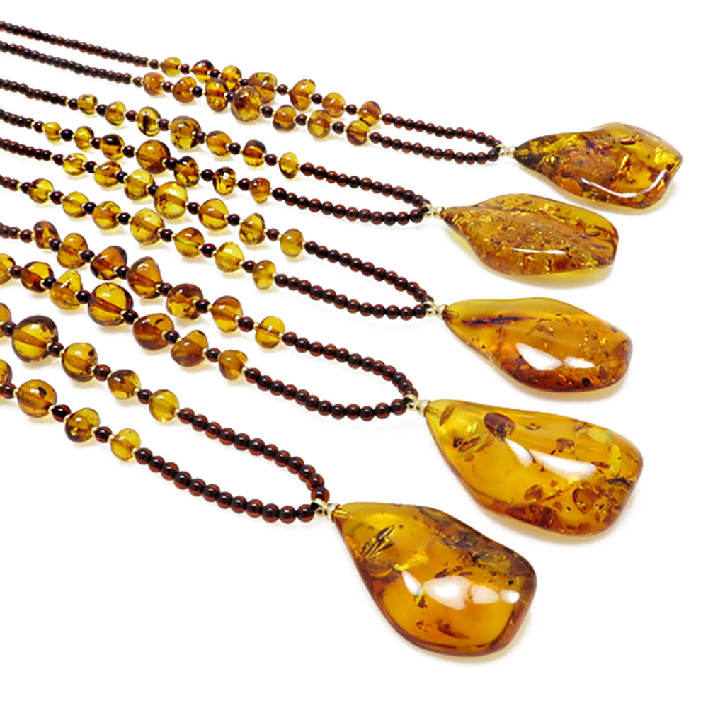 Cognac Amber Wave Pendant Beaded Necklace - Amber Alex Jewelry