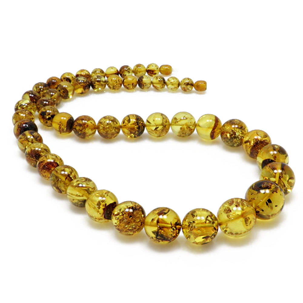 Fossil Amber Round Beads Necklace - Amber Alex Jewelry